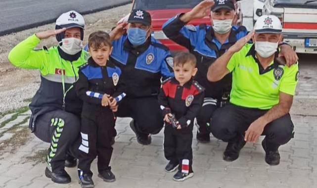 Polis amcaları Küçük Eymen ve Uras'ın hayalini gerçekleştirdi